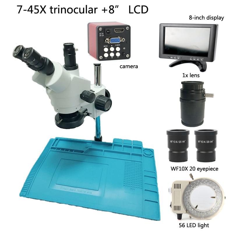 Trinoculaire microscope stéréo 7X 45X zoom ratio + 720 P 14MP industrielle appareil photo numérique VGA HDMI + 56 lampe à led + 8 écran lcd