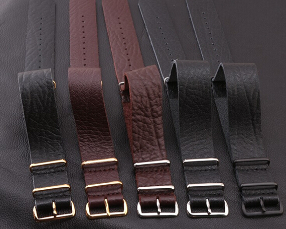 Hot sale fashion nato long strap watch 22MM Genuine leather watchband black brown with stainless steel 3 ring buckle  bracelet hot selling high quality new arrival genuine leather watchband carbon fiber straps 22mm with stainless steel buckle