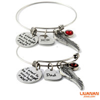 Liuanan Birthstone Gem Pendant Bracelet Stainless Steel I USED TO BE HIS ANGEL NOW HAS MINE