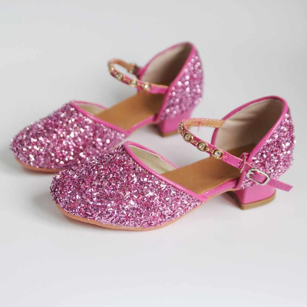 Zomer Schoenen Voor Meisjes Glitter Kinderen Meisje Rhinestone Ballroom Latin Tango Dans Schoenen Hakken Schoenen Sandale Fille9.506gg