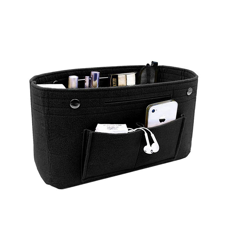 Makeup Storage Organizer Felt Cloth Insert Cosmetic Bag Multi pockets Fits in Handbag Cosmetic Toiletry Bag for Travel Organizer in Cosmetic Bags Cases from Luggage Bags