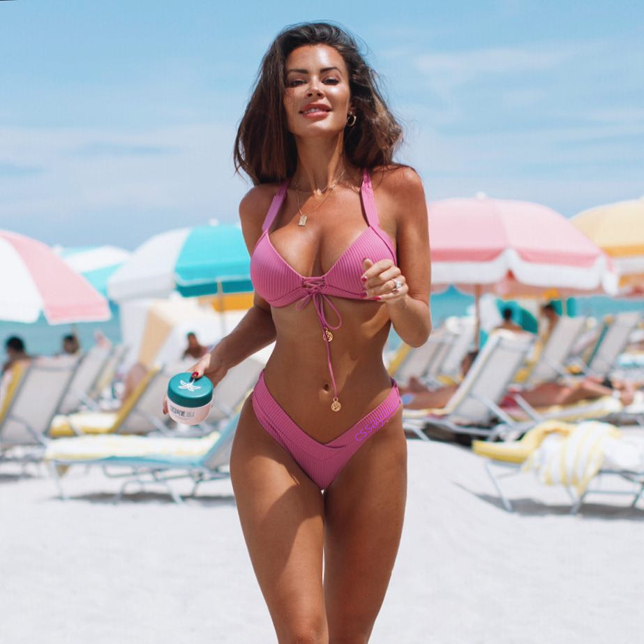 Pink Sexy Swimwear Women Micro Bikini 2019 Mujer Swimsuit Women Swimming Suit Mini Thong Bikinis Set Beach Biquinis Feminino May
