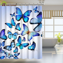 HAKOONA Blue Butterflies Digital Printed  Shower Curtains 180*180cm Bathroom Sheer Waterproof Panel With 12 Plastic Hooks  1 set