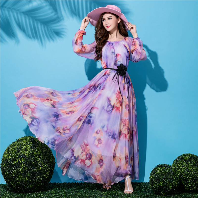 New Plus Size Long Sleeved Bohemia Floral Beach Dress Summer Casual Loose Dresses Lightweight Sexy Chiffon