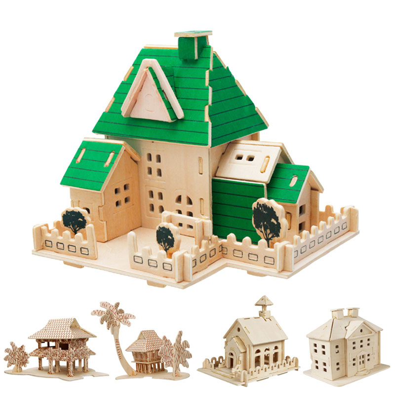 Construction 3D Wooden House Puzzle DIY Building Model Toy Craft for Kids Adult qiyun 3 d wooden puzzle children and adult s educational building blocks puzzle toy pig model