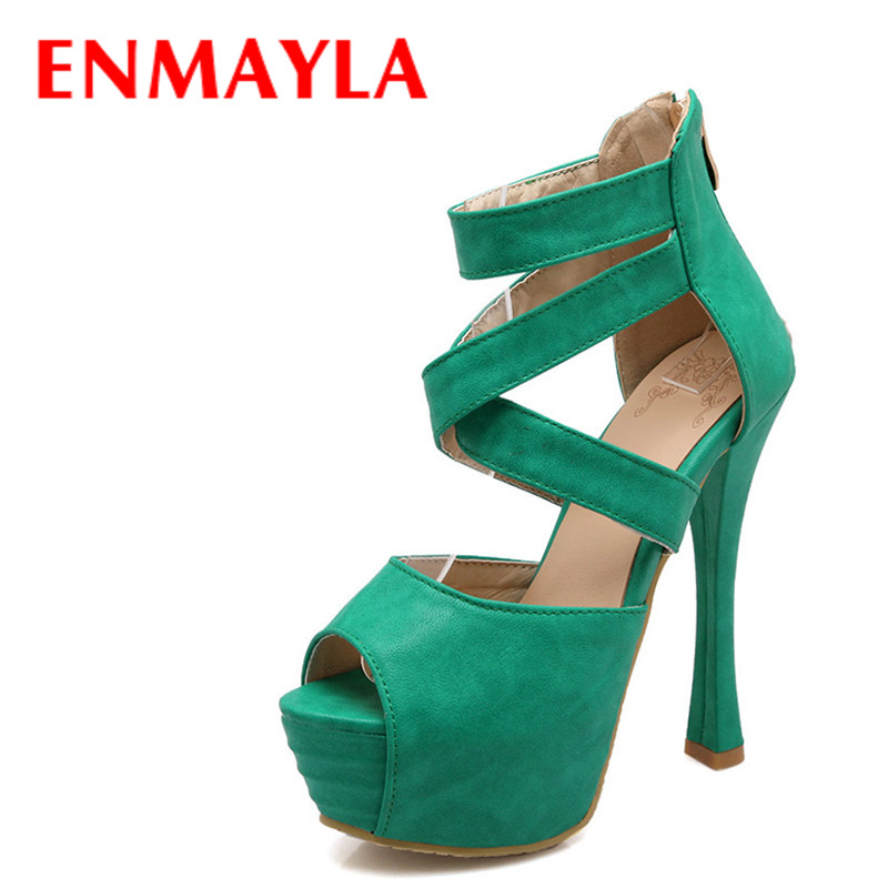 ENMAYLA Summer Platform Gladiator Sandals Women Shoes Peep Toe Extreme High Heels Sandals Shoes Woman Green Party Pumps Shoes phyanic 2017 gladiator sandals gold silver shoes woman summer platform wedges glitters creepers casual women shoes phy3323