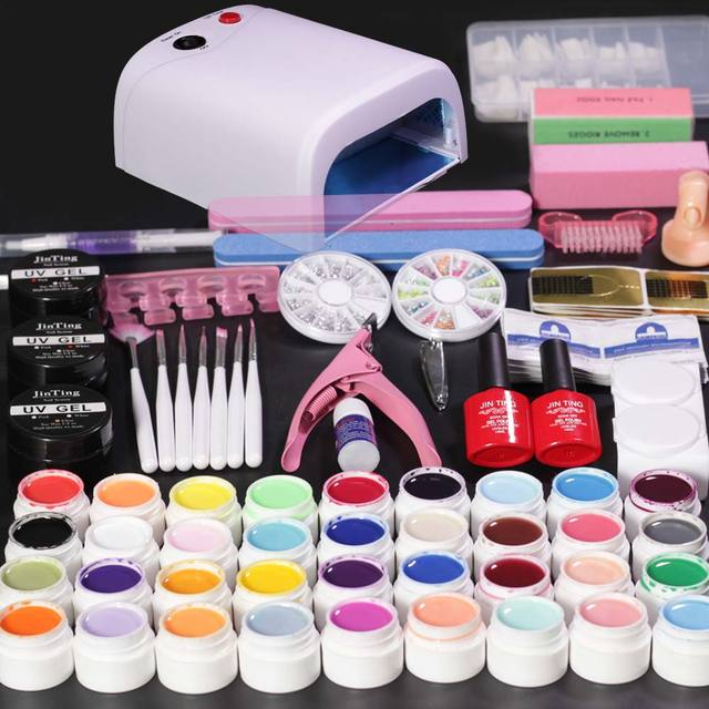 Nail art kit Gel Polish 36 Color Soak Off Base Top Coat Manicure ...