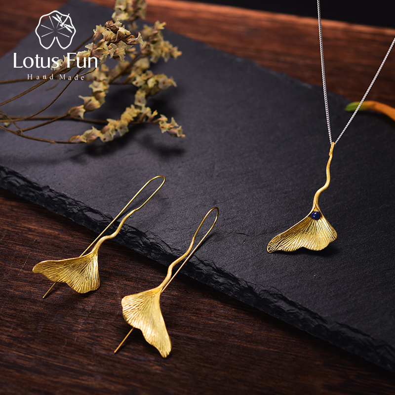 Lotus Fun Real 925 Sterling Silver Natural Lapis Fine Jewelry 18K Gold Ginkgo Leaf Jewelry Set with Earring Pendant Necklace