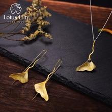 59c688e3290e Lotus Real 925 plata esterlina Natural Lapis joyería fina 18 K oro de la  joyería de la hoja con pendiente colgante collar