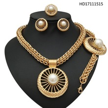 YULAILI 2017 Free Shipping Ladies Costume Beautiful Round Pearl Four Pieces Jewelry Sets