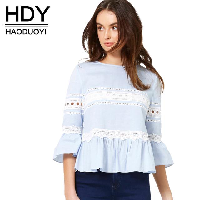 Hdy haoduoyi color sólido tapas de la manera de las mujeres de tres cuartos de la manga mujeres del o-cuello pullover casual ruffles lace patchwork tops