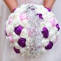 Envío libre de La Novia que sostiene las flores, nueva llegada de Boda Romántico de Colores Rose Bride's Bouquet, púrpura rosa ramos de novia