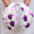 Free shipping Bride holding flowers, New arrival Romantic Wedding Colorful Rose Bride 's Bouquet,purple pink   bridal bouquets