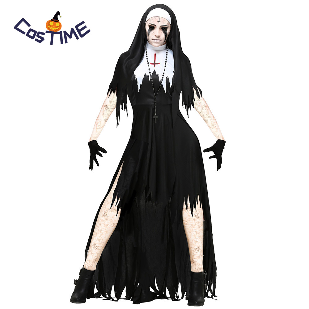Adult Zombie Nun Costumes Scary Bloody Sister Mary Women's Living Dead Costume Outfit Gothic Horror Halloween Fancy Dress