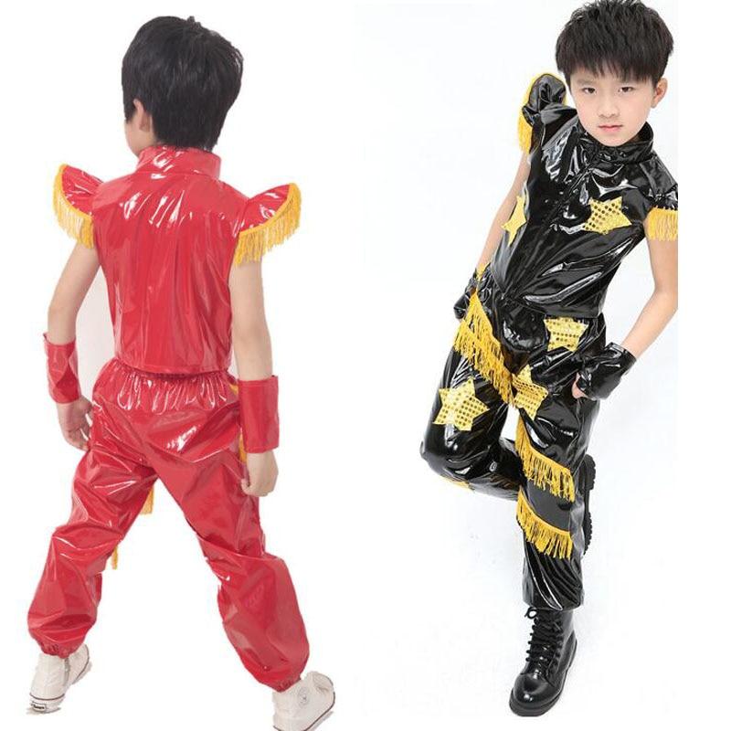 Black Bright Kids Jazz Dance Costumes tops+Pants Boys Modern Hip Hop Competitions show Dresswear Kids Ballroom dancing Outfits