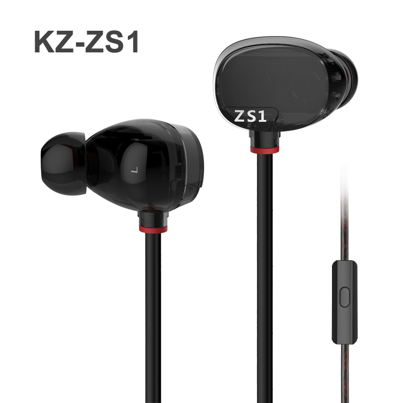 KZ ZS1 Dual Dynamic Driver Stereo Earphone Earbuds Noise Cancelling In-Ear HiFi Headset with Microphone for Cell Phone Tablet PC kz zs2 in ear earphone dual driver hifi headphones bass earbuds music stereo earphones with microphone for cell phone mp3 mp4 pc