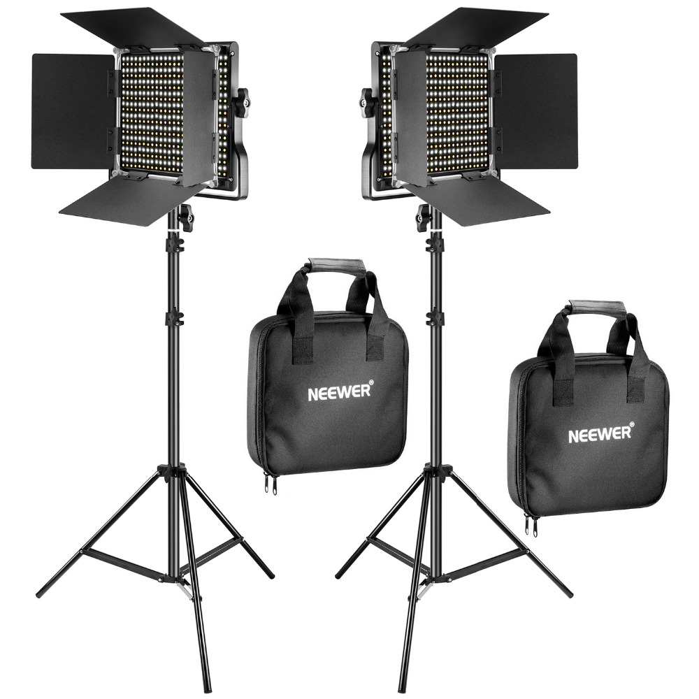 Neewer 2 Pack Bi Color 660 LED Video Light Stand Kit for studio photography video dimming light with U bracket and barn door ...