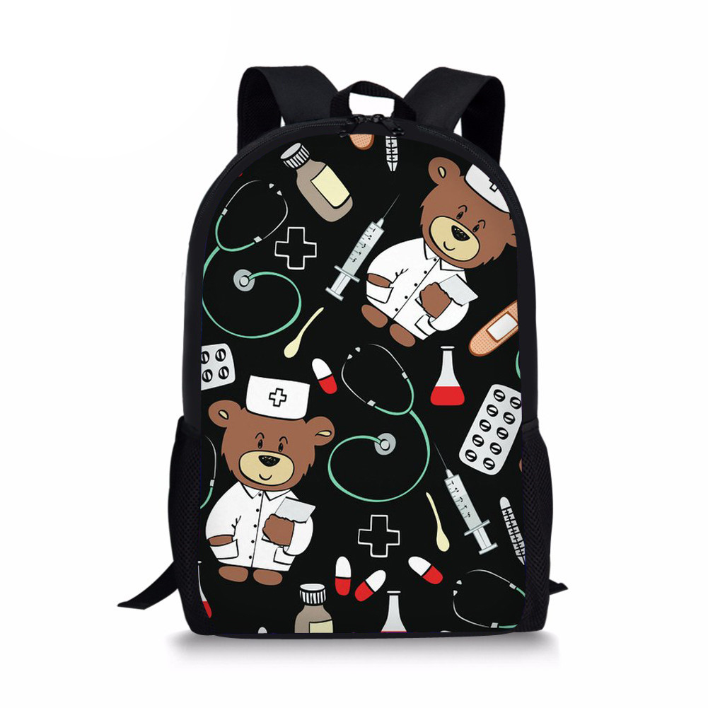 Customized Cartoon Cute Bear Doctors Backpack for Printing School Backpacks Children Kids Girl Rucksack Leisure Mochila Escolar
