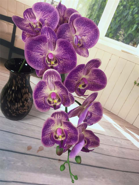 Placeholder 9 Heads 96cm Artificial Phalaenopsis Flower Source Material Real Touch Soft High Quality Orchid Purple Color