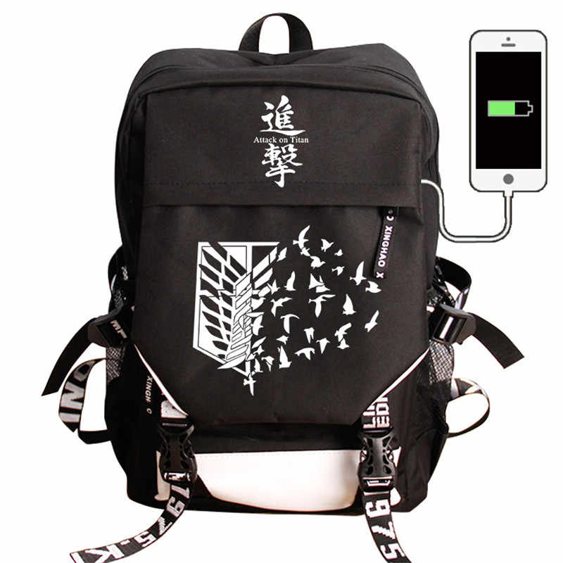 Attack on Titan COS Backpack USB Charge Backpacks Fashion Nylon Travel Laptop Bag Anime School Bag For Teenagers Boys Girls