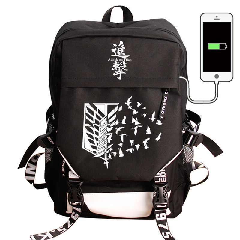 Attaque sur Titan COS sac à dos USB Charge sacs à dos mode Nylon voyage pochette d'ordinateur Anime sac d'école pour adolescents garçons filles