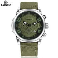 LIANDU Mens Casual Quartz Watch Chronograph & 3D Engraved Dial Green Canvas Strap Sports Wathches Men