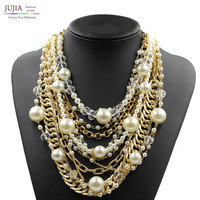 2015 NEW Fashion Necklace Collar Pearl Necklaces Pendants Trendy Choker Chunky Metal Chain Collar Statement Pearl