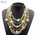 2017 nueva moda collar de perlas collar choker collares y colgantes de moda declaración de cadena de metal grueso collar de perlas simuladas