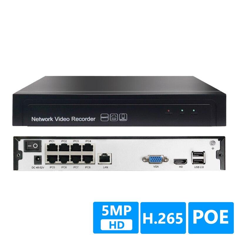 8CH 5MP POE 1 SATA NVR H.265+/H.265/H.264 CCTV UP to 16ch 5.0MP Network Video Recorder Onvif 2.6 IP Camera P2P AEeye2.0