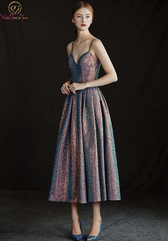Backless   Prom     Dress   2019 New Spaghetti Strap Sleeveless Tea-length A-line Sexy Neck Sequined Bling Simple Custom Made Party Gown