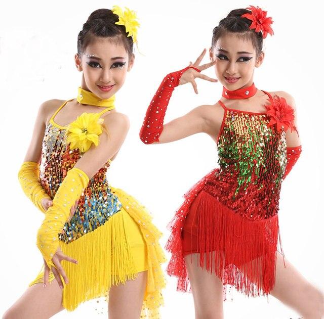 Блёстки этап кисточкой конкуренция Костюмы для латиноамериканских танцев платье для танцев для Обувь для девочек платье Гимнастика практика Танцы платье девушка танцевальная одежда дети