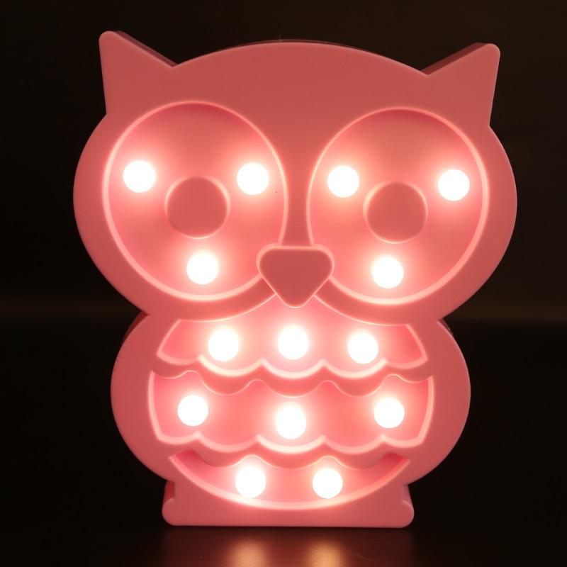 Children bedroom owl lighting wall lamp night light pink owl battery powered рюкзак hama sweet owl pink blue