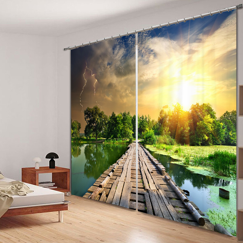 Curtains Luxury Blackout 3D Window Curtains For Living Room Bedroom Drapes cortinas Rideaux Customized size Lake wood bridge