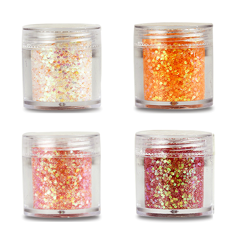 4Pots Hexagon Sprinkles Glitter Sequins Blue Series Glitter Flakes Chunky DIY Glitter Manicure Decorations Nail Art 1 Box 10ML in Nail Glitter from Beauty Health