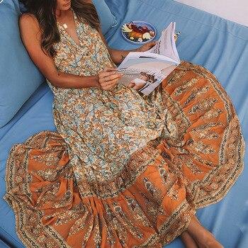 8ce20ee2501 Jastie Gypsy принт женское платье Boho Хиппи пляжные платья без рукавов v-образный  вырез летнее платье большой подол макси платья Длинные Vestidos 2018