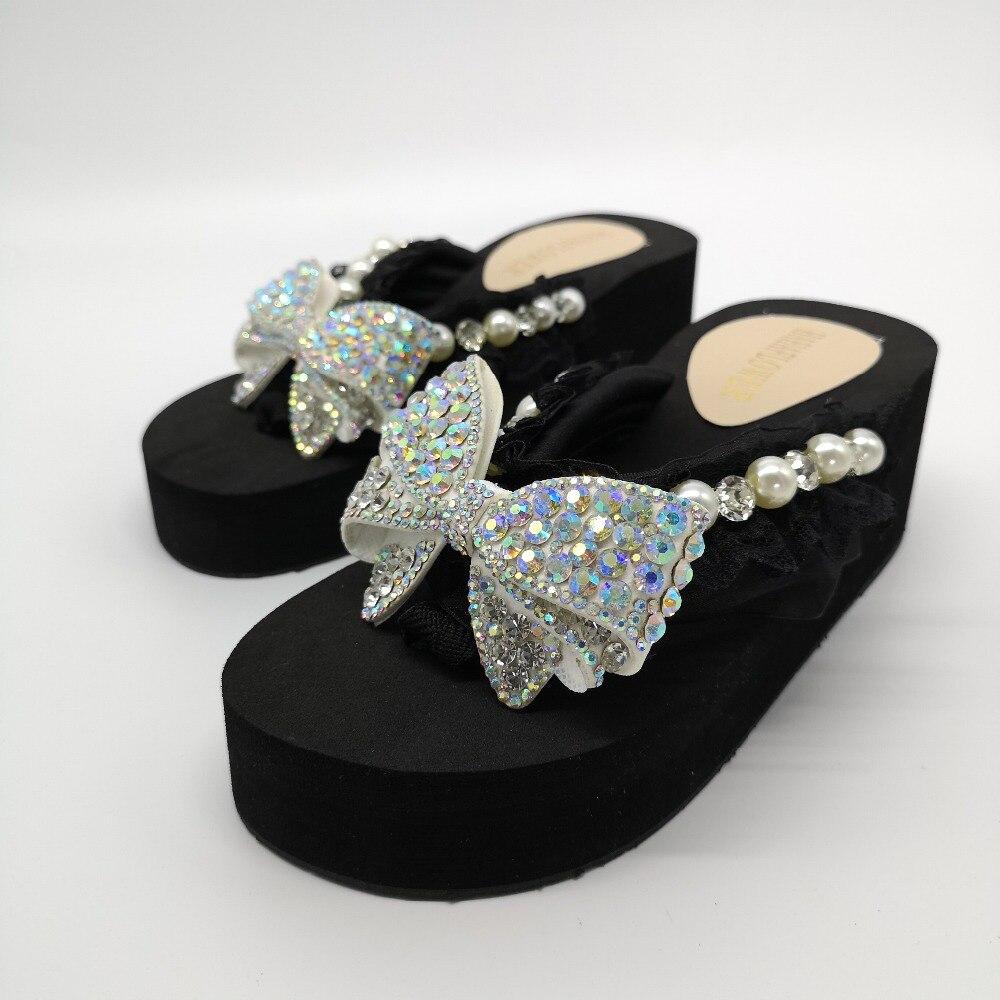 2019, zapatillas de playa de verano para mujer, sandalias de flores con perlas brillantes, chanclas para el hogar, zapatos casuales, envío gratis - 5