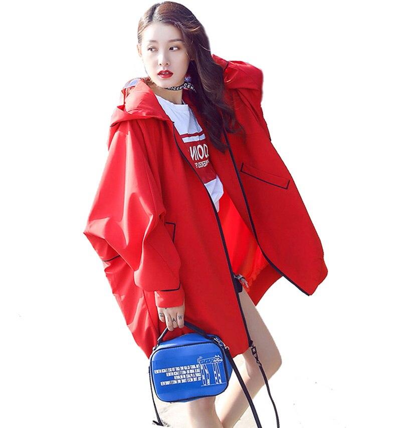 Capuche BF coupe-vent femme manteau Oversize lâche Hip Hop Long Bomber veste femmes Streetwear Harajuku BF manteau femme