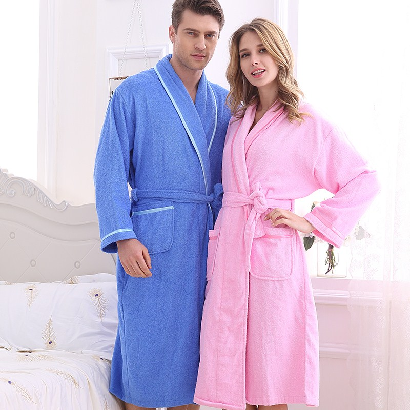 Couple Cotton Terry Bathrobe Lovers Solid Towel Sleepwear Men Long Bath Robe Kimono Femme Dressing Gown Bride Robes