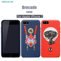 Appleのiphone 8ケースnillkin錦織中国スタイルケース用appleのiphone 7 4.7インチファッション刺繍puレザー電話ケース