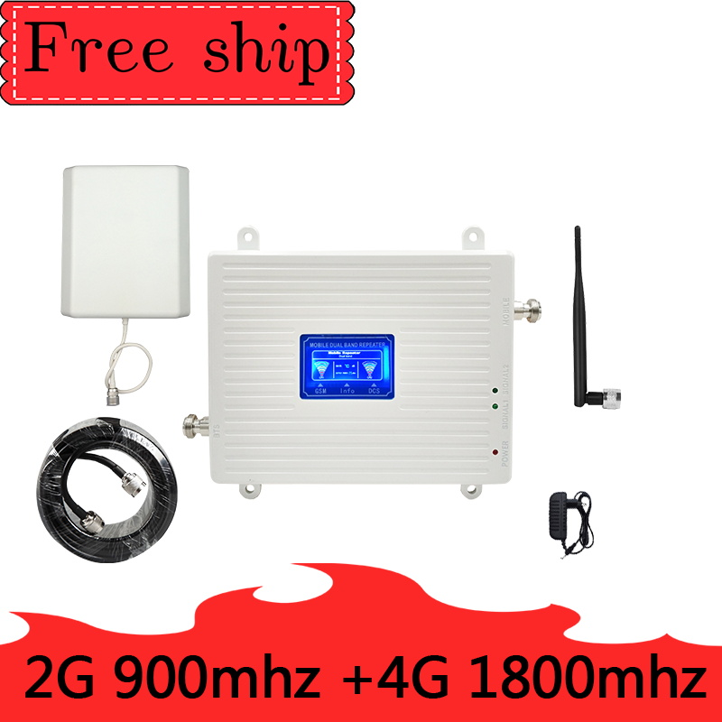 GSM 900 2G LTE 1800  4G Dual Band Mobile Signal Repeater GSM  LTE  2G 4G Whip  Antenna 70dB Gain Cellular  Booster Amplifier
