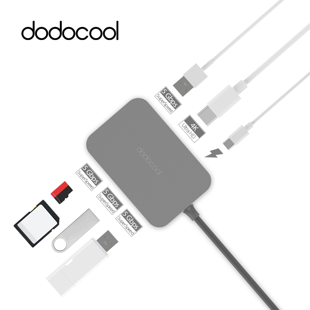 dodocool USB Hub 7-in-1 USB C Hub with 4k Video HDMI Type-c Hub USB 3.0 Hub for MacBook Pro Samsung Galaxy S9 S8 USB Splitter цена