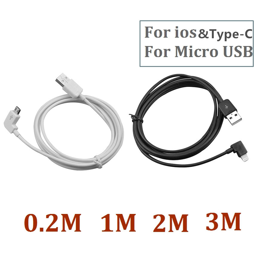 90-degree Angle IOS USB-C Type-C Micro USB Cable 90 Degree Fast Charging Data Sync Cords for iPhone 5 6 Samsung LG Android flat micro usb male to usb 2 0 male data sync charging cable for samsung more white 200cm