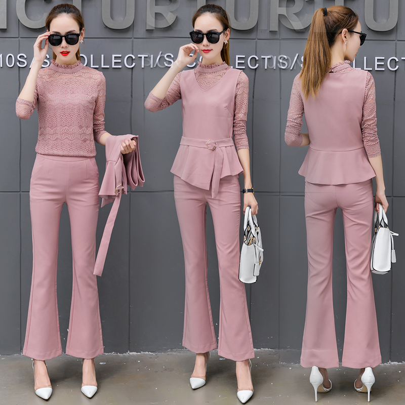 Women Pant Suits Bandage vest hollow out lace Sets Work Wear 3 Pieces Set Lapel vestt and Pant Uniform Style Outfits 18