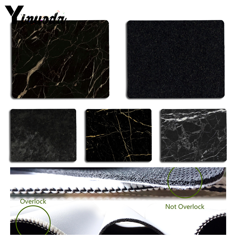 Yinuoda Cool New Black marble texture Laptop Computer Mousepad Size for 180x220x2mm and 250x290x2mm Rubber Mousemats