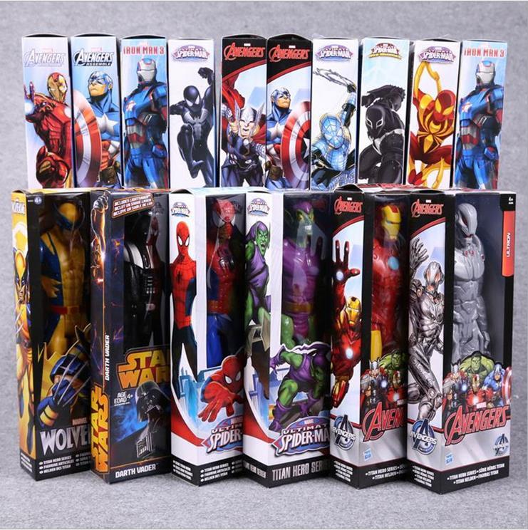 Anime Figure 30 CM Hero Avengers Super-Héros Capitaine Venin Iron Man Thor Darth Vader Green Goblin PVC Figurines Jouets