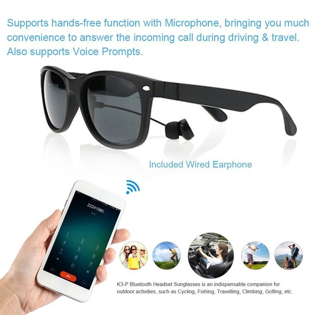 ... Sunglasses MP3 Berkuda Kacamata. Source · 2 set K3 Terpolarisasi Kacamata  lensa Matahari BT 4.1 Stereo Earphone Nirkabel Bluetooth Headset Headphone w 946ba3a38f