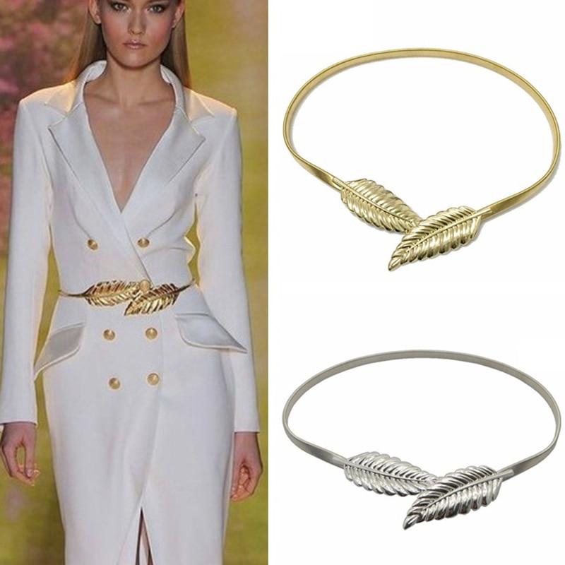 gold silvery leaf shape wedding designer elastic belts for women girl stretch skinny waist belt cummerbunds metal female belt
