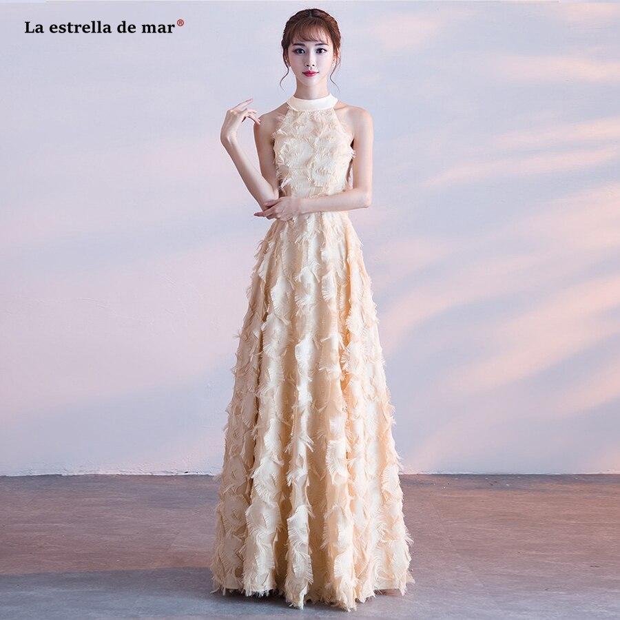 2e6c4e35a0 US $75.05 5% OFF Vestido de madrinha de casamento longo2018 new feather  lace fringe a Line burgundy champagne Silver blush bridesmaid dresses-in ...