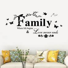 Family Love Never Ends Quote Vinyl Wall Decal Wall Lettering Art Words Wall Sticker Home Decor Wedding Decoration Living Room(China)