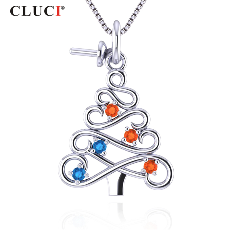CLUCI Newest Christmas Tree Shape Pendant Women 925 Sterling Silver Female Pendant For Jewelry Making